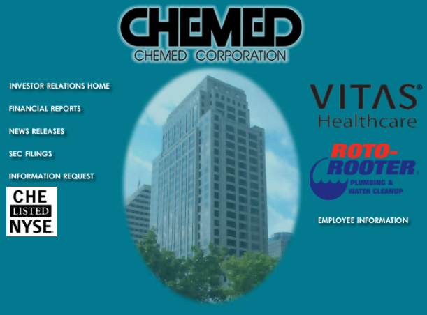 Screenshot of front page of Chemed's website.
